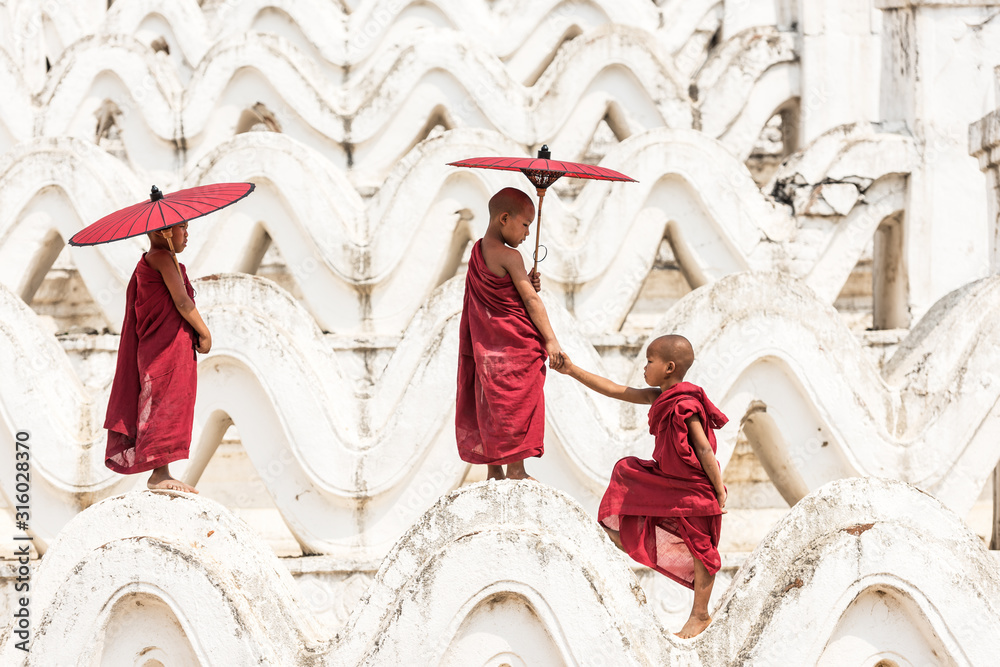 Fototapeta Burmese buddhist novice monks in Myanmar