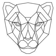 Abstract Polygonal Head Of Cheetah. Geometric Vector Illustration.