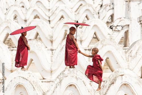 Canvas Print Burmese buddhist novice monks in Myanmar