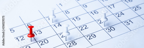Tacks On Calendar Page/12th Canvas Print