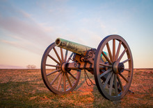 Cannon At Sunrise In Gettysburg