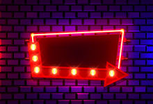 Neon Frame On A Brick Colored ...