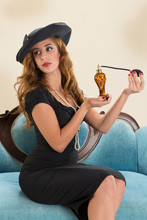 Rich Housewife Pin-up Applying Perfume