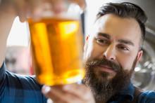 Close Up Brewery Worker Examining Beer In Beaker
