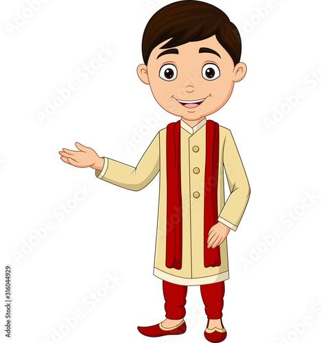 Cartoon Indian boy wearing traditional costume Wallpaper Mural