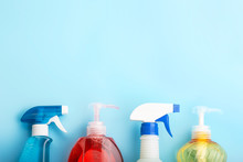 Cleaning Products On Blue Back...