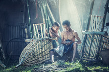Thailand Father And Son Are Wo...
