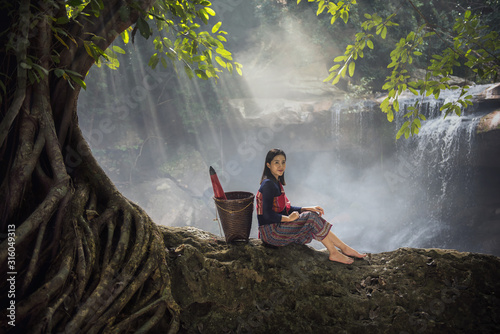 Portrait of beautiful rural woman wear Thai dress Tapéta, Fotótapéta
