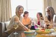 Three generation female enjoying party at home