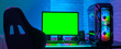 Leinwanddruck Bild - Green screen for cybersport game