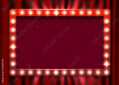 Retro light sign. Vintage style banner on curtain background. Show time concept. - 316057319