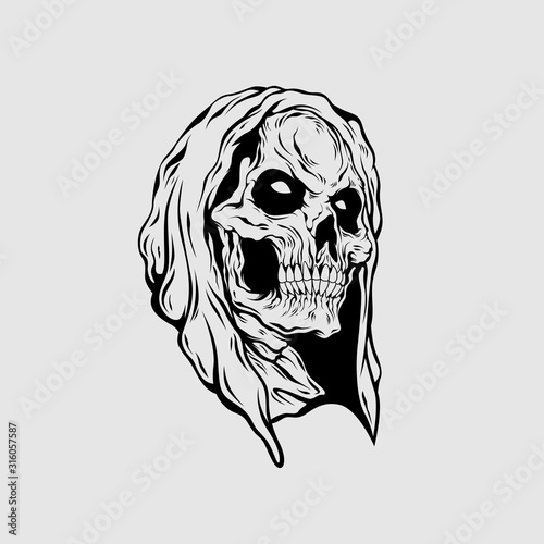 Photo grim reaper head illustration