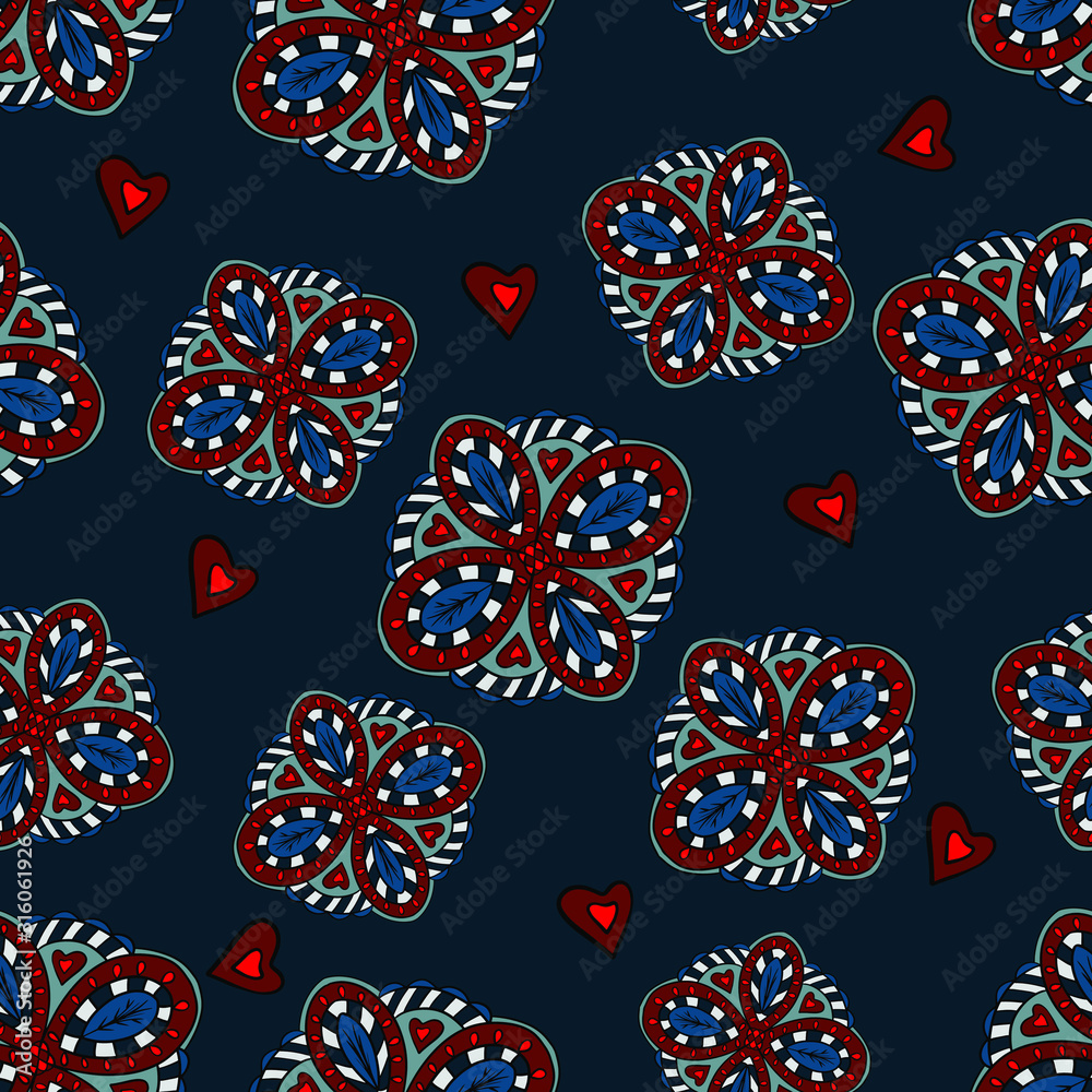 Seamless pattern with fantasy flowers for print, home decor, design. abstract background.