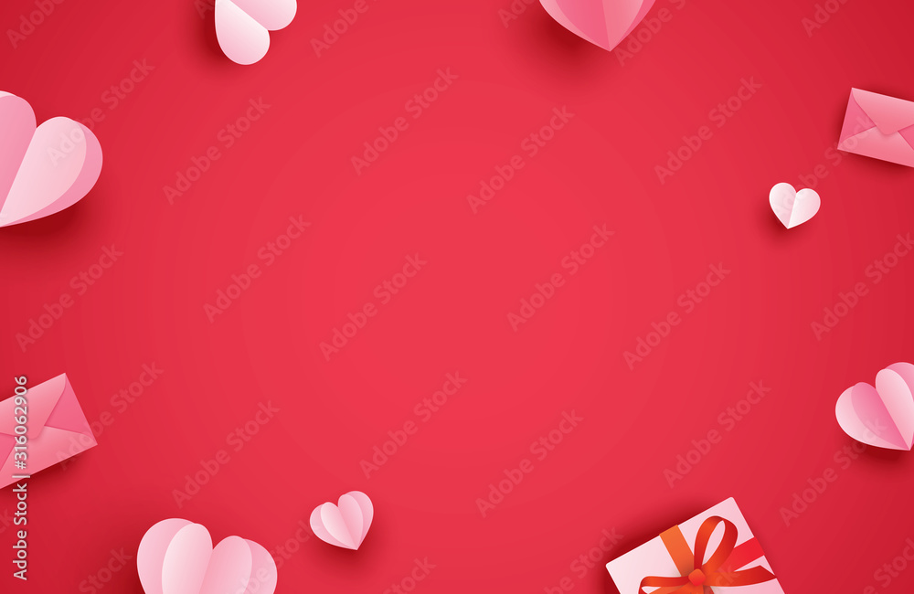 Fototapeta Happy valentines day greeting cards with paper hearts on red pastel background.