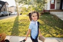 Portrait Smiling Girl Scout Se...