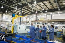 Workers Meeting In Factory