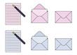 手紙 便箋と封筒 輪郭線あり