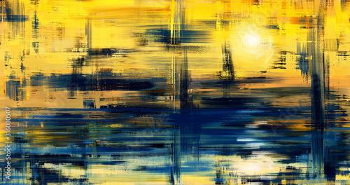 Abstract art landscape painting, background illustration Fototapeta