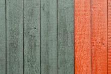 Closeup Of Old Red And Green Wood Planks Texture Background