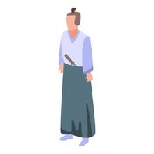 Samurai Icon. Isometric Of Samurai Vector Icon For Web Design Isolated On White Background
