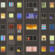 holiday Windows. vector illustration of house Windows with different lighting and decorations