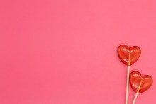 Two Lollipops. Red Hearts. Can...
