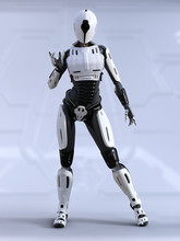 3D Rendering Of A Female Andro...