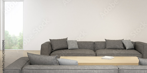 Fototapeta Perspective of modern living room with timber table and grey sofa on nature background. 3D rendering. obraz na płótnie