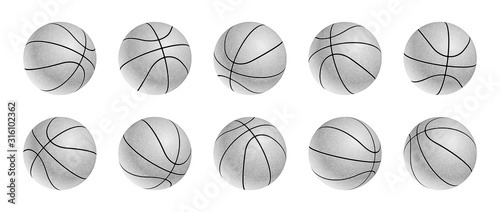 Set of blak and white basketball balls icons with leather texture in different p Tablou Canvas