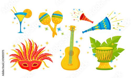 Fényképezés Festive Brazil Attributes and Symbols with Maracas and Carnival Mask Vector Set