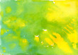 Leinwanddruck Bild - Yellow-green watercolor background. Hand drawn. Stock illustration.