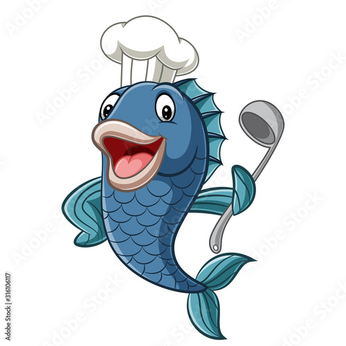 Cartoon chef fish holding a soup ladle #316106117