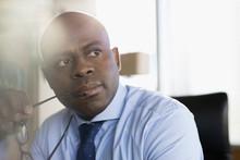 Close Up Pensive Businessman H...