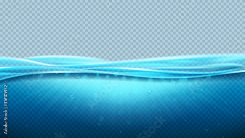 Fototapeta Blue realistic transparent ocean waves. Vector illustration. Realistic deep underwater sea scene with light beams. Banner with horizontal sea water surface. obraz