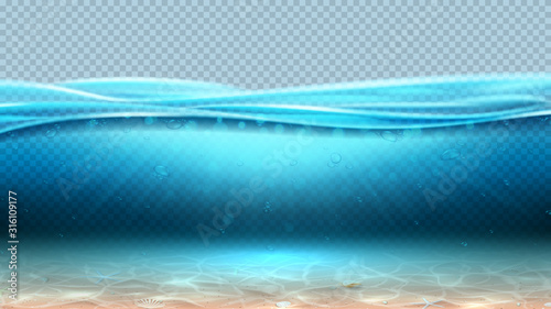 Fototapeta Realistic sea underwater scene with transparent waves. Vector illustration. Realistic ocean landscape with seashells and sun beams. Banner with horizontal sea water surface. obraz