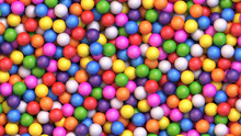 Colorful Gumballs Background. Assorted Brightly Colored Candy Gumballs Or Dragees. Realistic Vector Background
