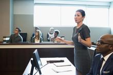 Female Prosecutor Attorney Talking In Legal Trial Courtroom