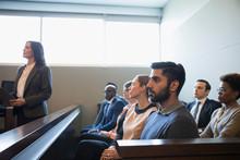 Serious, Attentive Jury Listen...