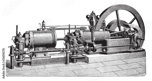 Fotografia Old gas engine / vintage illustration from Brockhaus Konversations-Lexikon 1908