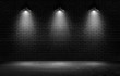 Empty black wall with spotlights background for product show with Elegant light and Cement floor. interior room with spots light.