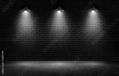 Obraz Empty black wall with spotlights background for product show with Elegant light and Cement floor. interior room with spots light. - fototapety do salonu