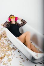 Beautiful Girl In Bath Wearing...
