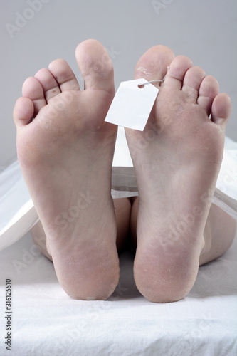 Feet of a dead person in a morgue with proof of identification waiting for an au Canvas Print