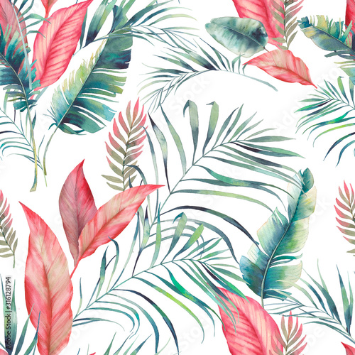 Tapeta do sypialni  watercolor-tropical-flora-ornament-palm-seamless-pattern-with-banana-leaves-and-exotic-br