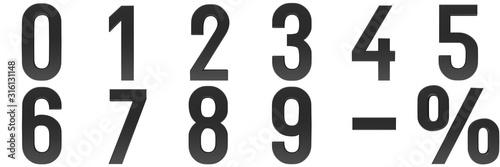 Fotografía numbers 3d black 0 1 2 3 4 5 6 7 8 9 percent sign minus dash symbol interest rat