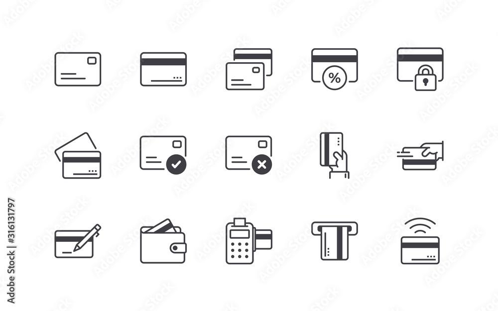 Fototapeta Credit Card Icons Set