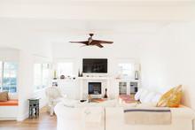 Ceiling Fan Over White Living Room