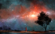 Cute small girl in red dress walk on land with tree and milky way in colorful nebula. Elements furnished by NASA. 3D rendering