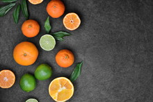 Fresh Orange Fruits And Lime A...