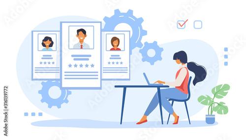 Recruit agent analyzing candidates Fotobehang
